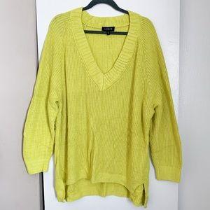 Express Yellow Deep V-Neck Sweater
